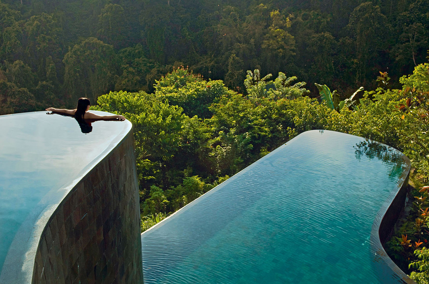 Two-level infinity pool: Ubud Hanging Gardens, Bali, Indonesia