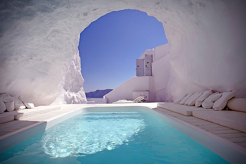 Pool inside a natural cave: Katikies Hotel, Santorini, Greece